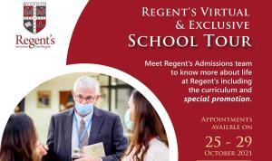 Regent's Virtual School Tour ขอเชิญผู้ปกครองที่มีบุตรหลานอายุ 2 – 18 ปี เข้าเยี่ยมชมโรงเรียนนานาชาติรีเจ้นท์กรุงเทพฯแบบเสมือนจริงในวันที่ 25 – 29 ตุลาคม 2565