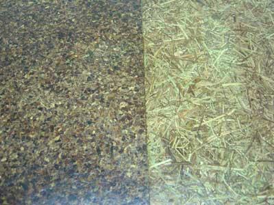 ซ้ายคือไม้อัดจากเปลือกส้ม ส่วนขวาคือไม้อัดตะไคร้ผสมหญ้าคา