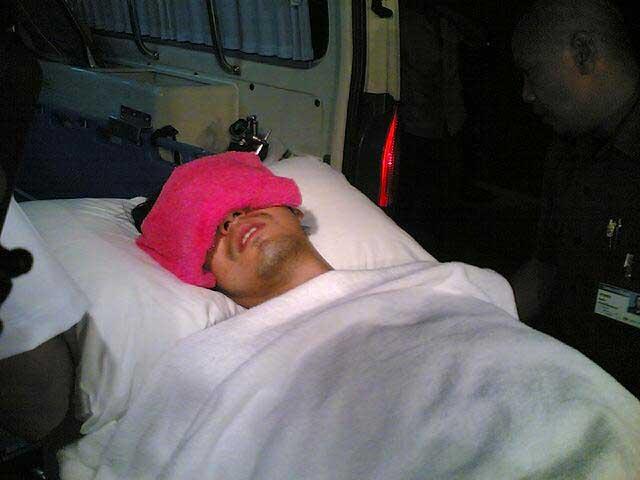 ภาพในครั้งวันเกิดเหตุที่หนุ่ม-ศรราม ขัยรถชนคนตาย ก่อนถูกส่งตัวเข้ารักษาที่โรงพยาบาล