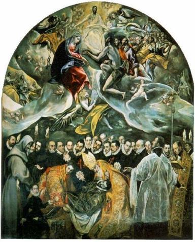 """รูปที่ 15 ภาพ """"มรณพิธีของท่านเคาท์แห่งออกาซ"""" โดยฝีมือจิตรกรเอกลูกรักของชาวสเปนนาม """"เอล เกรโค่"""" แสดงให้เห็นว่ามนุษย์เรานั้นถ้าแม้นทำดีใฝ่ดีมาตลอดชีวิตแล้ว  สิ่งศักดิ์สิทธิ์เบื้องบนก็อาจเมตตาถึงขนาดเกิดปาฏิหาริย์ขึ้นได้"""