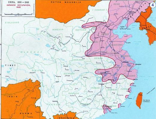 แผนที่ (ส่วนสีชมพู) แสดงถึงอาณาเขตที่ถูกรุกรานจากญี่ปุ่น