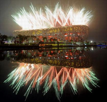ภาพการแสดงดอกไม้ไฟในพิธีเปิดโอลิมปิก ปักกิ่ง 8 สิงหาคม 2008