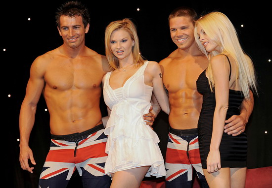 Sydney, AUSTRALIA : This photo taken on October 29, 2009 shows international stars Tarra White (2nd L) and Jesse Jane (R)