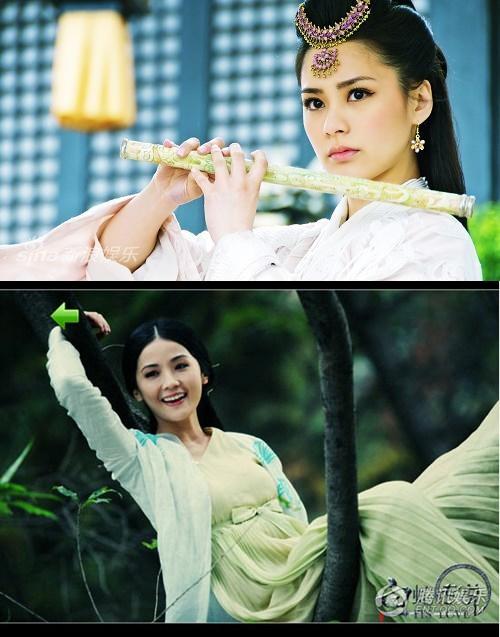 (บน) อาเจียวกับผลงานละครโทรทัศน์เรื่องใหม่ Holy Pearl (ล่าง) ผลงานภาพยนตร์เรื่องใหม่ของอาซา เรื่อง The Sorcerer And The White Snake (นางพญางูขาว)