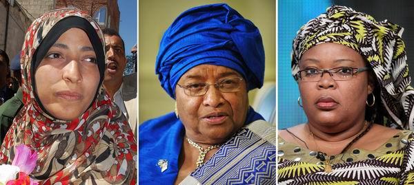 (ซ้ายไปขวา) ตอวักกุล การ์มาน (Tawakkul Karman) นักเคลื่อนไหวชาวเยมน, เอลเลน จอห์นสัน เซอร์ลีฟ (Ellen Johnson Sirleaf) ประธานาธิบดีหญิงชาวไลบีเรีย และเลย์มาห์ จีโบวี (Leymah Gbowee) นักเคลื่อนไหวเพื่อสันติภาพชาวไลบีเรีย