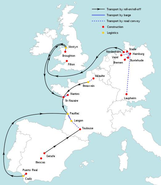 แหล่งผลิตและเส้นทางการขนส่งชิ้นส่วนต่างๆ ของเครื่องบินแอร์บัส เอ380 เพื่อมาประกอบขั้นสุดท้ายที่เมืองตูลูส ประเทศฝรั่งเศส ก่อนส่งไปตกแต่งและลงสีเครื่องที่เมืองฮัมบูร์ก ประเทศเยอรมนี โดยปัจจุบันเครื่องบินรุ่นนี้มียอดสั่งซื้อรวม 243 ลำแล้ว