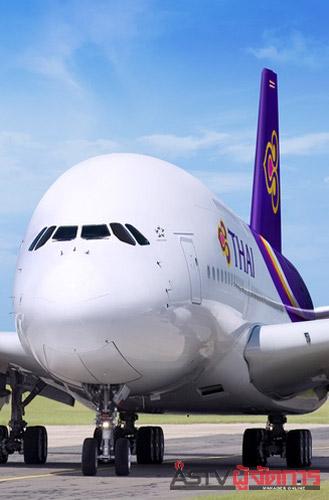 ภาพจำลองภายนอกของเครื่องบินแอร์บัส เอ380-800 ของการบินไทย ซึ่งน่าจะสามารถนำมาให้บริการได้ภายในไตรมาสที่ 3 ของปี 2555 (ภาพคอมพิวเตอร์กราฟิกจากการบินไทย)