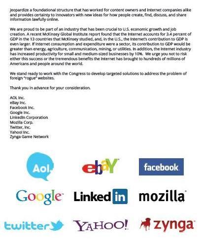 ถ้อยแถลงคัดค้านร่างกฎหมายต่อต้านการละเมิดลิขสิทธิ์ออนไลน์