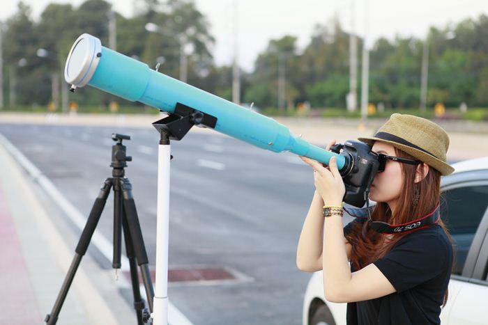 การถ่ายภาพด้วยกล้อง PVC Telescope โดยใส่โซลาร์ฟิวเตอร์ และใช้ T-Adapter,T-Mount เพื่อติดกับกล้องถ่ายภาพก็ถือเป็นอีกทางเลือกสำหรับผู้ที่มีงบประมาณจำกัด