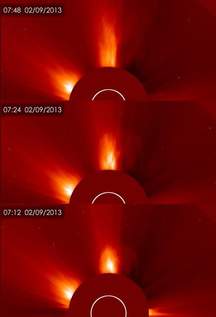 การปะทุบนดวงอาทิตย์เมื่อ 9 ก.พ.ที่ผ่านมา (สเปซด็อทคอม/นาซา/อีซา/โซโห)