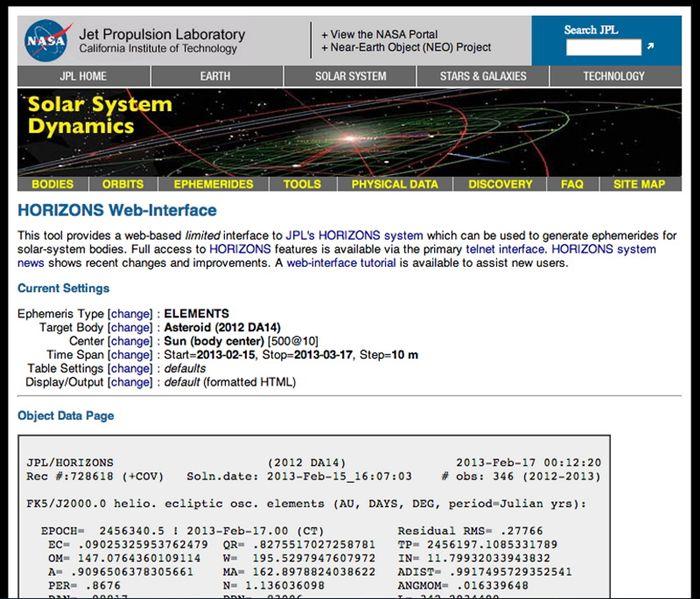 ภาพตัวอย่างเว็บไซต์ ssd.jpl.nasa.gov/horizons.cgi ที่ใช้ในการบอกพิกัดของดาวเคราะห์น้อย 2012 DA14 ในครั้งนี้