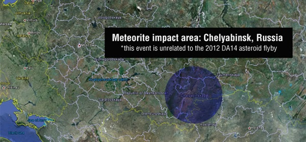 ภาพจากกูเกิลเอิร์ธ เผยบริเวณที่อุกกาบาตระเบิดเหนือฟ้ารัสเซีย (นาซา/Google Earth/ไลฟ์ไซน์)