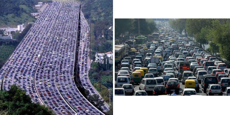 สภาพรถติดยาวเหยียดกว่า ๑๘๐ กิโลเมตร ในเมืองเซาเปาโล ประเทศบราซิลเหตุเกิดปลายปี ๒๕๕๕