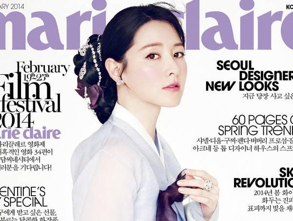 """""""ลียองเอ"""" สุดสวยสว่างไสวในชุดฮันบกบนปก Marie Claire"""