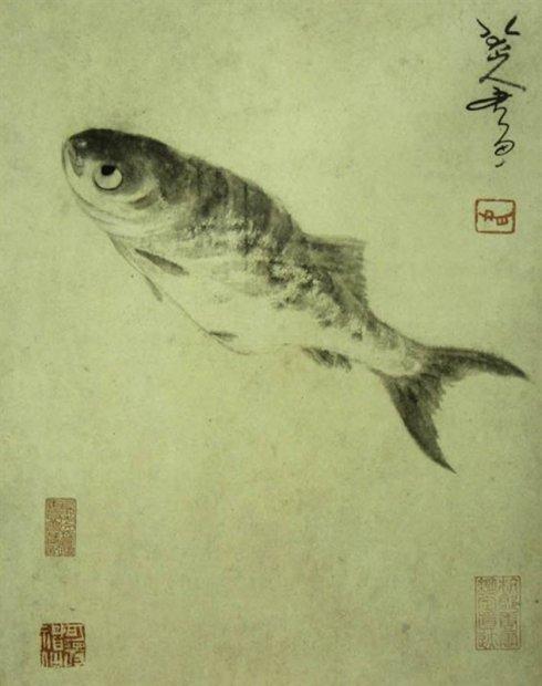 ภาพโดย จูตา (朱耷-ค.ศ.1676-1705) หรือ ปาต้าซันเหริน(八大山人)จิตรกรยุคสมัยราชวงศ์ชิง