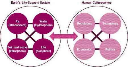 แสดงความสัมพันธ์ระหว่างระบบชีวการุญกับระบบวัฒนธรรมมณฑล และองค์ประกอบของทั้งสองระบบ ลูกศรแสดงการรับและการให้ระหว่างระบบ Odum and Barrett (2005) เรียกระบบแรกว่า เจ้าบ้าน (host) และระบบที่สองว่า ปรสิตหรือพยาธิ (ภาพจาก Miller, 2004)