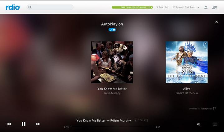 ฟีเจอร์ AutoPlay จะทำงานทันทีหลังเพลงใน Playlist จบลง โดยเพลงที่สุ่มต่อจะอยู่บนพื้นฐานแนวเพลงที่คุณชอบทั้งหมด