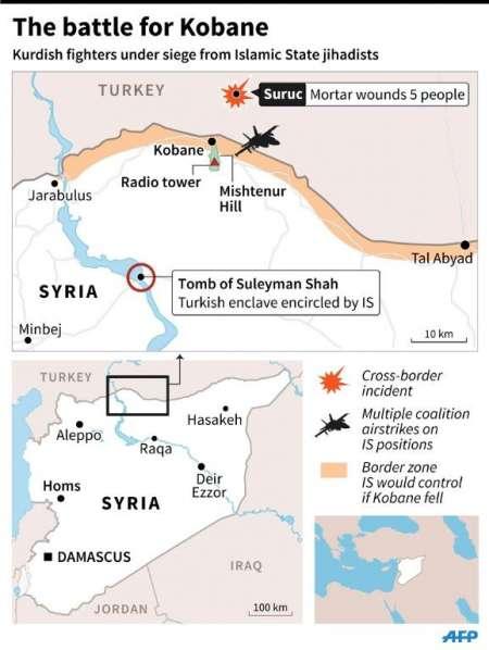"""กลุ่มติดอาวุธไอเอสบุกเข้า """"โคบานี"""" สำเร็จ - ยึดพื้นที่ 3 เขตทางตะวันออก"""