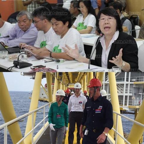 (บน) กลุ่มจับตาปฏิรูปพลังงาน นำโดย น.ส.รสนา โตสิตระกูล สปช.แถลงค้านเปิดสัมปทานปิโตรเลียม ครั้งที่ 21 (ล่าง) นางคริสตี้ เคนนีย์ ทูตสหรัฐฯ ประจำไทย นำคณะทูตสหรัฐฯ เยือนแท่นผลิตแหล่งปลาทองในอ่าวไทยของเชฟรอนเมื่อ 15 ต.ค.