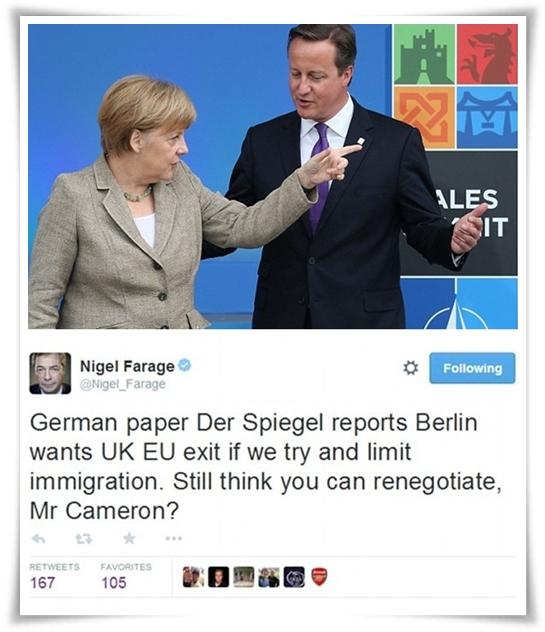 """แมร์เคิลกร้าว """"เยอรมันยอมให้อังกฤษลาออก"""" หากคาเมรอนดึงดันฉีก """"กม.อพยพเสรีอียู"""""""