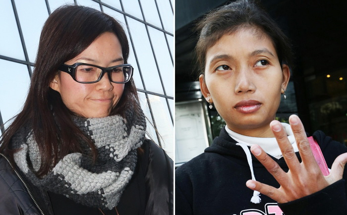 หงาน ซุกไว่ นายจ้างหญิงชาวฮ่องกง (ซ้าย) และอานิส อันดรียานี แม่บ้านชาวอินโดนีเซียวัย 26 ปี