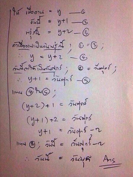 ตัวอย่างการแก้โจทย์ความคิดคนไทย