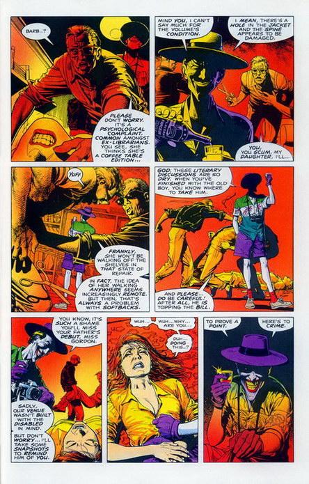 ภาพจากการ์ตูนตอน Batman: The Killing Joke ซึ่งเป็นแรงบันดาลใจสำหรับการวาดปาก Batgirl เล่ม 41