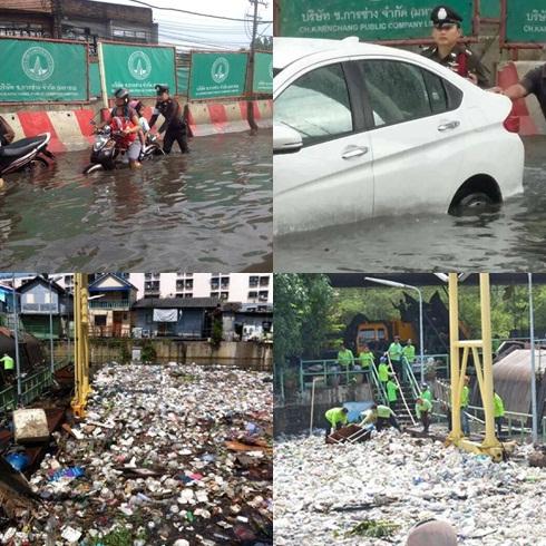 สถานการณ์น้ำท่วมขังบนถนนหลายจุดเมื่อวันที่ 8 มิ.ย. และขยะจำนวนมากที่ติดอยู่ตามสถานีสูบน้ำ