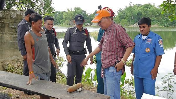 ชาวราชบุรีพบลูกระสุนปืนใหญ่ในแม่กลองสภาพสมบูรณ์