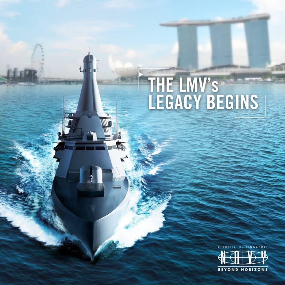 ชมภาพใหญ่เต็มจอ ทร.สิงคโปร์ปล่อยเรือชุด LMV เรือรบยุคใหม่ลำแรกจาก 8 ลำ