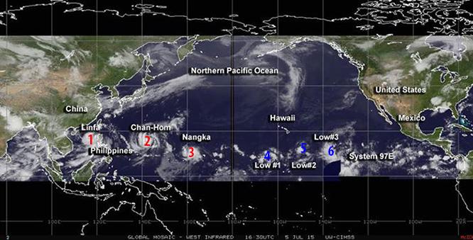 """ไปดูพายุแฝดสามในทะเลแปซิฟิก .. """"หลินฟา"""" มุ่งหน้าถล่มจีน-เวียดนาม"""