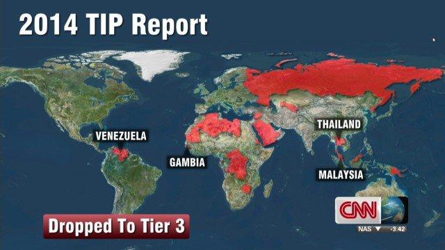 รายงานสถานการณ์ค้ามนุษย์ประจำปี 2014 (TIP) ซึ่งออกโดยกระทรวงการต่างประเทศสหรัฐฯ ระบุให้ไทย มาเลเซีย และเวเนซุเอลา ถูกลดอันดับไปสู่ เทียร์ 3 ซึ่งเป็นขั้นเลวร้ายที่สุด