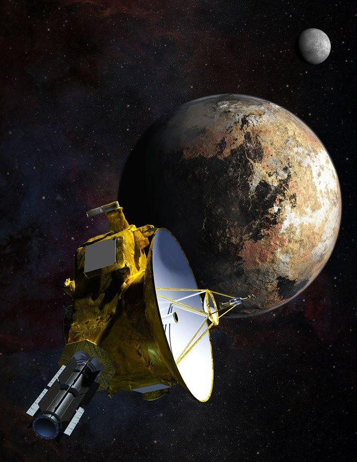ภาพวาดจากนาซาจำลองเหตุการณ์ขณะยานนิวฮอไรซอนส์กำลังเข้าใกล้พลูโตและชารอน (Charon) จันทร์บริวารขนาดใหญ่ที่สุดของพลูโตในเดือน ก.ค.นี้ (AFP PHOTO HANDOUT-NASA/ Johns Hopkins University Applied Physics Laboratory/Southwest Research Institute (JHUAPL/SwRI))
