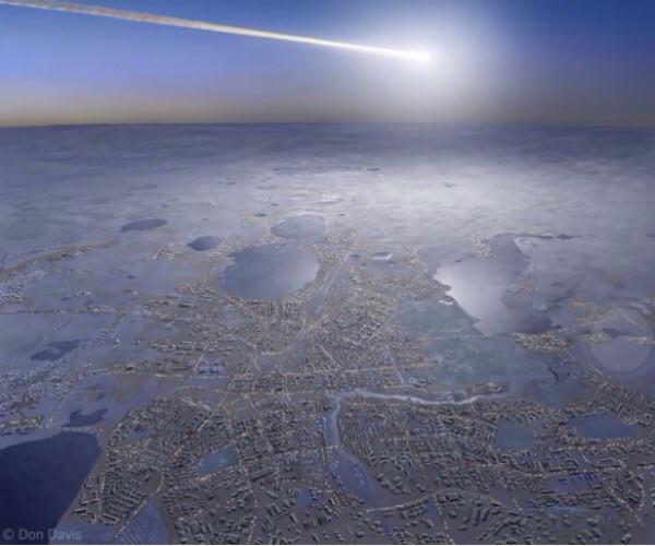 ภาพวาดในจินตนาการของศิลปิน เมื่อดาวเคราะห์น้อยขนาดเกือบ 20 เมตร พุ่งเข้าสู่บรรยากาศเหนือเมืองเชเลียบินสค์ในรัสเซียเมื่อ พ.ศ. 2556 ซึ่งเห็นเป็นลูกไฟสว่างกว่าดวงอาทิตย์เป็นเวลาสั้น ๆ ตามมาด้วยเสียงดังสนั่น ทำให้มีผู้ได้รับบาดเจ็บจากกระจกที่แตกเนื่องจากคลื่นกระแทก (ภาพ - Don Davis)