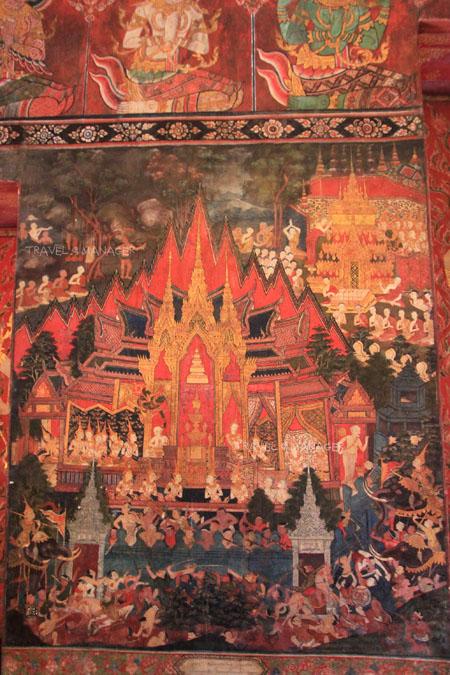 ภาพจิตรกรรมเกี่ยวกับการถวายพระเพลิงพระพุทธเจ้าและการแบ่งพระบรมสารีริกธาตุ
