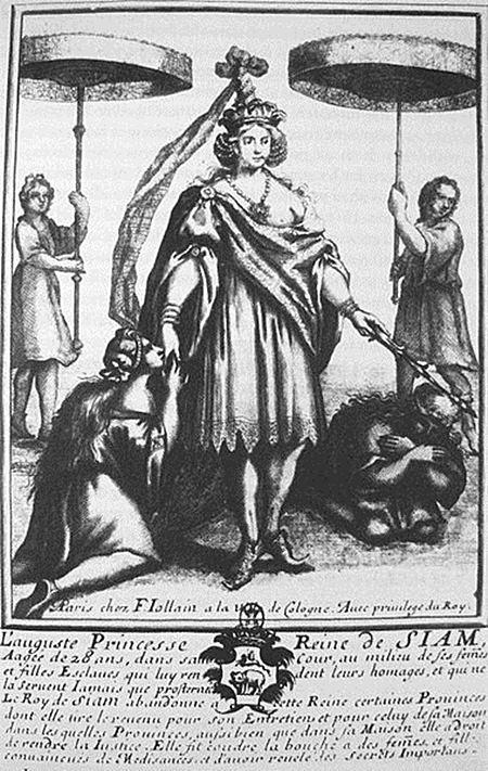 การแต่งกายของฝ่ายสตรีฝ่ายใน ภาพนี้คือสมเด็จเจ้าฟ้าสุดาวดี กรมหลวงโยธาเทพ