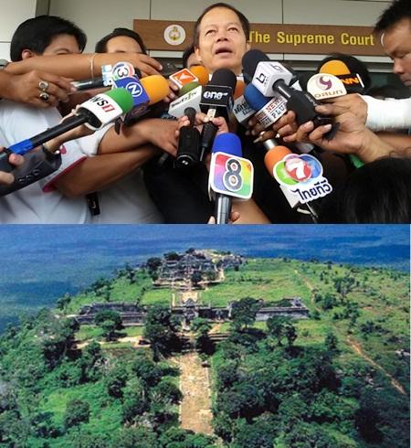 (บน) นายนพดล ปัทมะ อดีต รมว.ต่างประเทศ (ล่าง) ปราสาทพระวิหาร