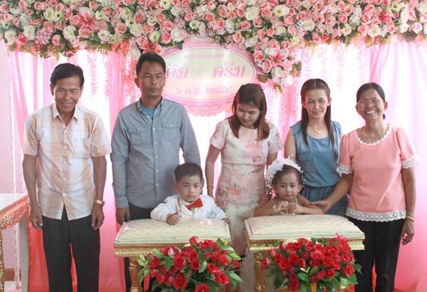 ฮือฮานักธุรกิจกาญจน์จัดพิธีแต่งงานลูกแฝดหญิง-ชายวัย 3 ขวบแก้เคล็ดตามความเชื่อของคนโบราณ (ชมคลิป)