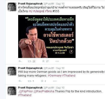 ตัวอย่างการแสดงความคิดเห็นในเชิงคัดค้านบทบาทของทหารมาโดยตลอด โดยเฉพาะทางเครือข่ายสังคมออนไลน์อย่างทวิตเตอร์ ในชื่อ @PravitR