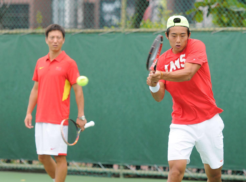 บรรยากาศการซ้อมของนักเทนนิสทีมจีน