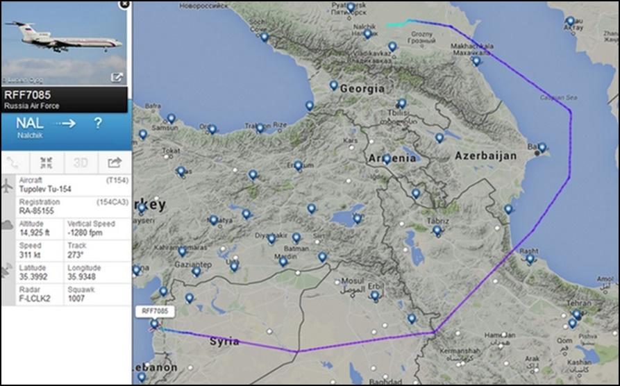 ภาพแผนที่แสดงการแกะรอยของสื่อทางทหาร theaviationist แสดงถึงเส้นทางการขนเครื่องบินรบ Sukhoi Su-34 สมรรถนะสูง จำนวน 6 ลำ เดินทางไปถึงซีเรียได้อย่างไร