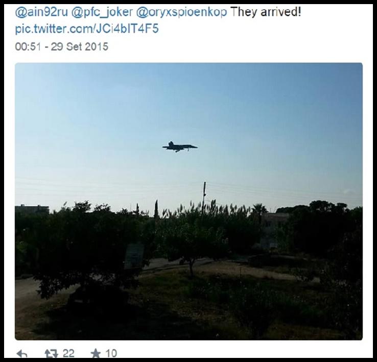 ภาพปรากฎตัวของเครื่องบินรบ Sukhoi Su-34 ก่อนร่อนลงในซีเรียจากการเผยแพร่ของ theaviationist ในวันอังคาร(20 กย.)
