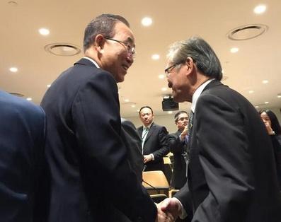 พบนายบันคีมูน เลขาธิการยูเอ็น ระหว่างคู่ขนานกับการประชุมสมัชชาสหประชาชาติ(ยูเอ็น)