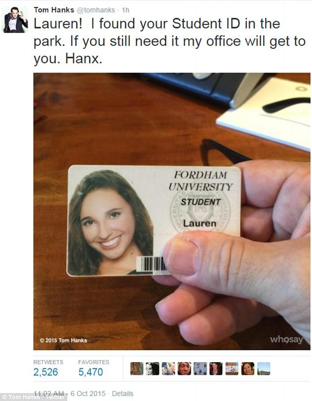 """""""ทอม แฮงค์""""ขอทำดีประกาศตามหาสาวสวยทำบัตรนักศึกษาหล่นหาย"""