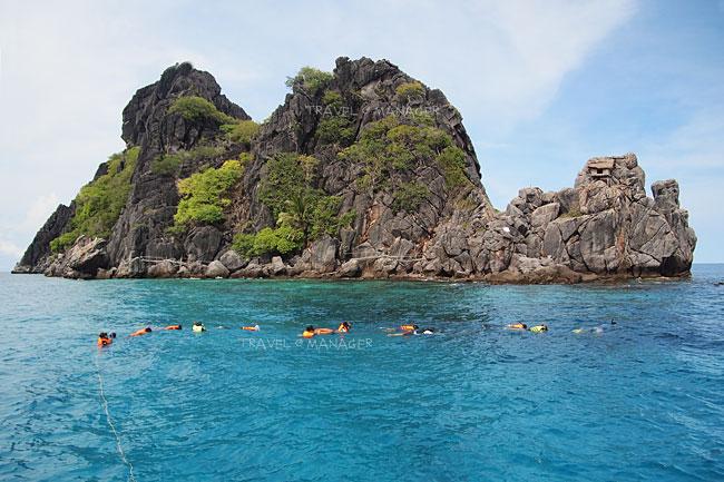 กระแสน้ำแรงต้องเกาะเชือกชมปะการังที่เกาะง่ามใหญ่