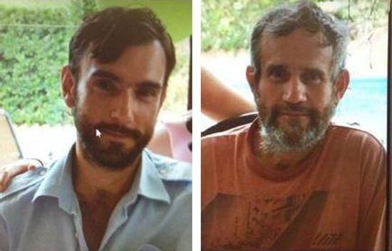 AUSTRALIA: This undated handout combination image of two photos released by New South Wales Police on October 28, 2015, shows Mark Stocco (L) and his father Gino Stocco (R), two of Australias most wanted men, who were caught on October 28 after leading police on a near two-week chase that riveted the nation, with a decomposed body found at their isolated hideout. The case of Gino and Mark Stocco -- on the run for eight years -- has enthralled Australias media since they opened fire on police during a car chase, with authorities launching a manhunt across three states for the men dubbed modern day bushrangers. AFP PHOTO/New South Wales Police