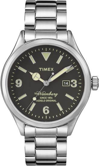 TIMEX รุ่น The Waterbury Date ดีไซน์ย้อนยุคกับตัวเรือนสเตนเลสสตีลบนหน้าปัดโทนสีดำอันเรียบง่าย