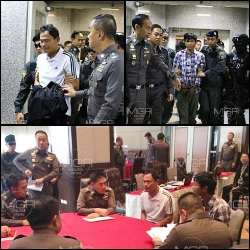 ทหารส่งมอบ 2 ผู้ต้องหาเตรียมป่วนเมืองและทำร้ายบุคคลสำคัญให้ตำรวจดำเนินคดี ประกอบด้วย จ.ส.ต.ประธิน จันทร์เกศ อดีตตำรวจตระเวนชายแดน และนายณัฐพล ณวรรณ์เล