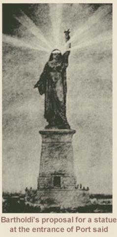 อนุสาวรีย์หญิงชาวนาอาหรับที่ บาร์โธลดี เคยออกแบบไว้สำหรับตั้งที่ปากคลองสุเอซในเมืองพอร์ตซาอิด