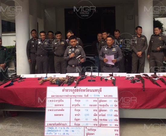ผู้การเมืองนนทบุรีแถลงกวาดล้างอาชญากรรมยึดของกลางเป็นอาวุธปืนและยาเสพติดจำนวนมาก พร้อมสะสางคดีค้างเก่าตามหมายจับอีกกว่า80ราย